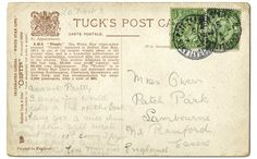 """Titanic postcard, 1912  Back of card....  Signed """"Love, Ugly"""" by an unknown passenger, this card addressed to """"Miss Gwen"""" was postmarked aboard Titanic and sent ashore with the mail, probably at Queenstown, Ireland, the ship's last port of call before heading westbound across the Atlantic."""