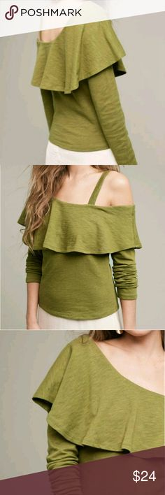 Anthropologie Asymmetrical Ruffle Top Just sold out online!  This top is so chic and comfy. Brand new with tags.  Olive/army green color. Anthropologie Tops Tees - Long Sleeve