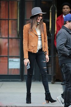 Nina Dobrev wearing the VEDA Jayne Suede jacket in Camel