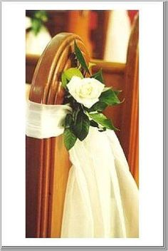 Beautiful Pew Decorations, fall flowers with cream sash? Church Wedding Flowers, Wedding Pews, Wedding Table, Pew Decorations, Church Wedding Decorations, Flower Arrangements, Wedding Planning, Dream Wedding, Wedding Inspiration