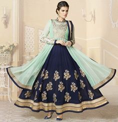 432806, Party Wear Salwar Kameez, Faux Georgette, Patch, Zari, Thread, Machine Embroidery, Blue, Green, Beige and Brown Color Family