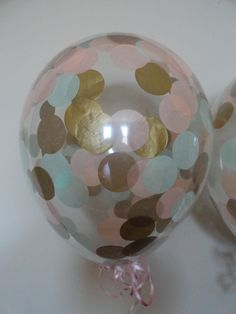 """HUGE! 16"""" Qualatex Latex Mint, Peach, and Gold Confetti Balloons - Wedding, Shower, Birthday, Baby, 1st Birthday, Back to School, Party"""