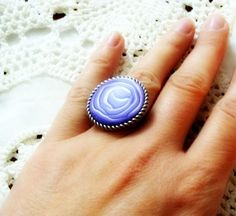 SALE Rose Polymer Clay Ring by jewelryfimo on Etsy, $15.00