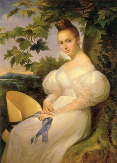 petitpoulailler:  1830 Merry Joseph Blondel (French 1781-1853) ~ Portrait of a Woman Seated Beneath a Tree    Nice example of a giant straw bonnet in her hand- and beautifully simple trimming! I can't help but notice that the position of her hair would make it awfully hard to wear that bonnet, though. I guess it made a good prop!