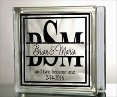 Wedding Split Mono and two became one Monogram Glass Block DIY Decal Personalized  ♥ ♥ ♥ ♥ ♥ ♥ ♥ ♥ ♥ ♥ ♥ ♥ ♥ ♥ ♥ ♥ ♥ ♥ ♥ ♥  WHAT IS INCLUDED?