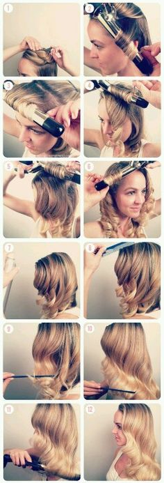 How to do a gorgeous wavy 50s pinup hairstyle...x