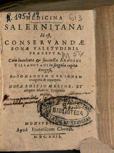 Medicina salernitana id est Conseruandae bonae valetudinis praecepta - Google Books