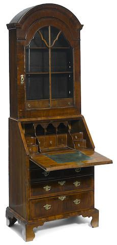 A George I walnut secretary bookcase first quarter 18th century