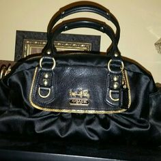 "Women's mini Coach satchel style handbag. Women's mini satchel style Coach handbag.  Black satin and leather.  Given to my daughter by an ex. Never used.  Includes dust bag also. 12""W x  6""H x  4""D. Coach Bags Mini Bags"