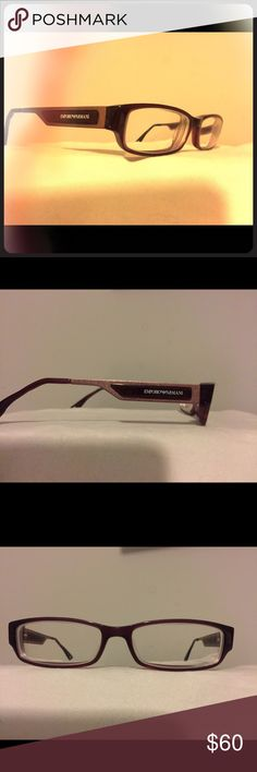 Emporio Armani Glasses Emporio Armani Prescription glasses selling frames only, I do not know the RX, you would have to get the lenses changed for your needs.They are maroon, and maroon metallic glitter. They are in great condition. Emporio Armani Accessories Glasses