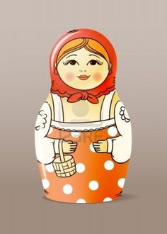 Traditional hand-drawn painted varnished wood doll. Matrioska Stock Photo - 11319893