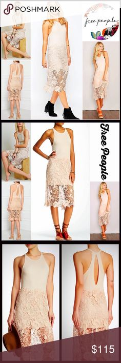 "⭐️⭐️ FREE PEOPLE Boho CROCHET Lace Dress 💟NEW WITH TAGS💟 RETAIL PRICE: $128  FREE PEOPLE Tank Dress   * Ribbed knit tank bodice; Super soft & stretchy  * Semi-sheer crochet lace overlay  * Keyhole cutout at the back  * Crew neck & racerback   * Approx 41"" long    * Fitted top & subtly relaxed skirt   Material: Modal & cotton Color: Ivory Combo Item# # lace embellished # T Shirt dress sheath vintage feel shift LBD 🚫No Trades🚫 ✅ Offers Considered*✅ *Please use the blue 'offer' button to…"
