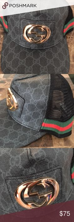 Gucci Hat new! black charcoal colorway, gold logo on front. Black netting, adjustable snap check out the rest of my closet!! Gucci Accessories Hats