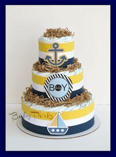 Nautical Diaper Cake, Nautical Baby Shower , Sailboat Theme, Baby Shower Decorations via Etsy