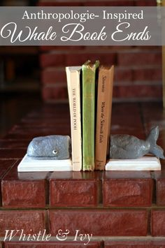 These Anthropologie-Inspired Whale Bookends are a much cheaper option, and fun to make! {Tutorial by Whistle and Ivy}
