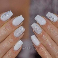 Elegant White Coffin Nails ❤️ Amazing Short Coffin Nails Designs You Hav. - Nail Design Ideas, Gallery of Best Nail Designs Simple Acrylic Nails, Summer Acrylic Nails, Best Acrylic Nails, Spring Nails, Acrylic Nails Coffin Glitter, Acrylic Nail Shapes, White Coffin Nails, Coffin Nails Long, White Nails With Glitter