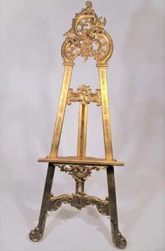 Large Carved Gilt Wood Easel_ Size: 67 x 28 x 8 in French Provincial Chair, Easels, French Vintage, Auction, Chairs, Chandelier, Carving, Indoor, Ceiling Lights
