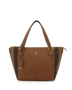 Calfskin & Pequin-Stripe Canvas Tote Bag, Tobacco by Fendi at Neiman Marcus.