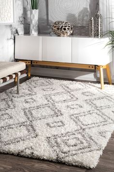 nuLOOM designs a variety of area rugs and runners ideal for anywhere inside your home including living rooms, bedrooms and dining rooms. nuLOOM curates affordable rugs in many styles like shag rugs, cowhide rugs, Persian rugs, jute rugs and oriental White Rug, White Area Rug, Rustic Area Rugs, French Country Bedrooms, Bedroom Country, Thing 1, Geometric Rug, Geometric Designs, Buy Rugs