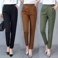 Summer Trousers Women Pants Elastic High Waist Office Lady Pant Solid Casual Female Trousers Work Wear Harem Pants StreetwearYou are in the right place about Women Pants classy Here we offer you the most beautiful pictures about the Women Pants chin Formal Pants Women, Pants For Women, Clothes For Women, Womens Work Pants, Ladies Pants, Formal Wear Women, Women Trousers, Semi Formal Outfits For Women, Business Casual Pants Women