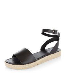 Black Leather Ankle Strap Espadrille Sandals