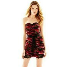 pearl by marchesa strapless red and black dress super cute minidress with body con fit. wire boning in bodice, ribbon belt that can be tied in front or back, black lace trim on top and bottom Marchesa Dresses Mini