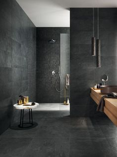 Luxury Bathroom Master Baths Wet Rooms is entirely important for your home. Whether you pick the Luxury Bathroom Ideas or Luxury Bathroom Master Baths Paint Colors, you will make the best Luxury Master Bathroom Ideas for your own life. Dark Bathrooms, Luxury Master Bathrooms, Modern Bathroom Tile, Natural Bathroom, Bathroom Tile Designs, Bathroom Interior Design, Bathroom Ideas, Master Baths, Bathroom Organization