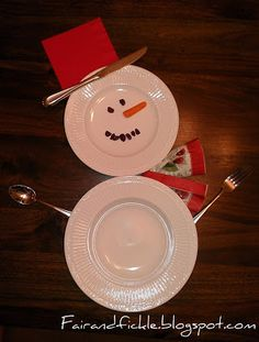 Snowman Place setting Linda Bauwin CARD-iologist  Helping you create cards from the heart.