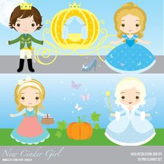 New Cinderella Inspired Clipart Set  Instant Download  by araqua