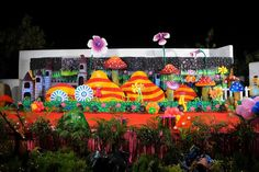 Wonder Land Decoration Makes A Party Memorable With Mushrooms Here 1st Birthday Organisers In Hyderabad