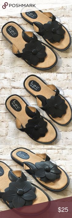 🔹Born Concept Black Leather Sandals with Flower Excellent condition Black leather flower detail size 9  maybe worn a few times  Super cute no rips tears or stains Non Smoking environment💕 Born Shoes Sandals