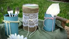 Tin Can Table Settings: Great for holidays, Wedding Centerpieces, Shabby Chic colored, burlap/lace. $15.00, via Etsy.