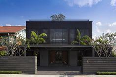 arbre de jardin en façade, clôture design et maison d'architecte