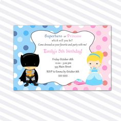 Superhero Princess Birthday Party Invitation Girl Boy - Costume Party Invite Siblings Party Card Printable Personalized Twins Birthday Party