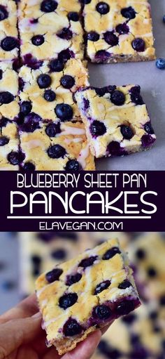 These sheet pan pancakes are vegan, gluten-free, healthy and low in calories. The recipe is easy to make and family friendly. easy 3 ingredients easy for a crowd easy healthy easy party easy quick easy simple Healthy Blueberry Recipes, Healthy Vegan Desserts, Gluten Free Blueberry, Vegan Gluten Free, Blueberry Breakfast Recipes, Healthy Blueberry Pancakes, Easy Blueberry Cobbler, Pancakes Végétaliens, Vegan Pancakes