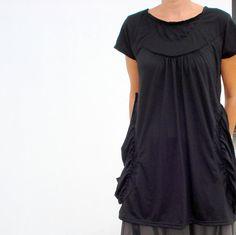 Short Sleeved Black Tunic Top