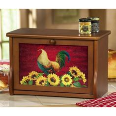 Country Rooster Decor Wooden Bread Box❤❤❤