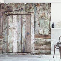Old Barn Door Cottage Shower Curtain – joocarhome Barn Door Shower Curtain, Rustic Shower Curtains, Fabric Shower Curtains, Cottage Showers, Brick Show, Fireplace Pictures, Cottage Fireplace, Old Barn Doors