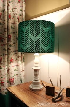 plain lampshade that has a design when you turn it on