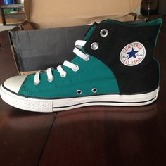 Black/teal converse slip on high tops Teal/black converse high top slip on sneakers are new with tags and clean!:)I wanted to wear  these but they are way too big for me so I decided to just sell them.the box is very beat up (look in pictures and you can kinda tell).ill try my best to tape it up and make it more clean but other than that they're in perfect condition!!they're a size 6. No rips or stains.give me reasonable offers and we can make a deal.enjoy!!:)no low offers please :) Converse…