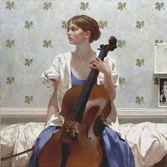 Untitled by Neil Rodger on Curiator, the world's biggest collaborative art collection. Arte Cello, Cello Art, Cello Music, Art Music, Violin, Music Painting, Figure Painting, Classical Realism, Music Illustration