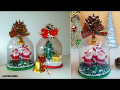 Christmas Crafts For Kids, Holiday Crafts, Christmas Diy, Christmas Bulbs, Christmas Decorations, Holiday Decor, Diy Snow Globe, Snow Globes, Diy Plastic Bottle