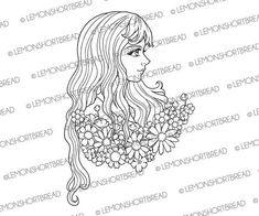 Digital Stamp Romantic Blooms Flowers Girl Digi Download