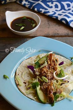 Asian slow cooker pulled pork tacos