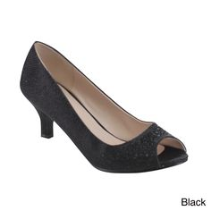 Elegant and timeless, these peep-toe pumps belong in every woman's closet. Designed with peep toe front, glitter upper, rhinestones at vamp, lightly padded footbed, and finished with slip-on construction.