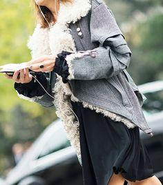 heavy grey denim asymmetric jacket with shearling lining  ...  photo by Adam Katz Sinding