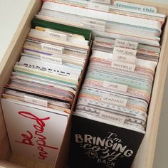 stay organized. I can't tell you how many boxes I've gone through this year, trying to keep my card stash contained. I felt 'organized' for about 2 months and then I'd go on a manhunt again for a better system. Finally I found an unfinished wood photo box at Michaels (for 4x6 photos - duh - perfect) and added a piece of chipboard for a divider between the 3x4 cards. I love that every Project Life card I have is in this single box.
