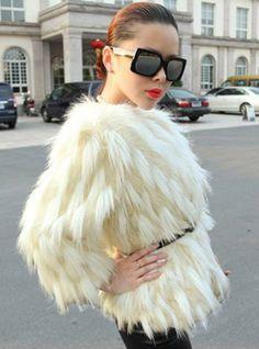 irregular gradient Fur Coat
