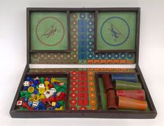 French Horse Racing Board Game Vintage Boxed Board Game Counters Die