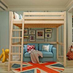 High Sleeper Cabin Bed with Ladder Solid Wooden Loft Bunk Bed White Kids Adult Kids High Beds, Boys Loft Beds, Double Loft Beds, Adult Loft Bed, Loft Bunk Beds, Double High Sleeper, Kid Beds, Loft Room, Bedroom Loft